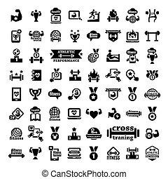 fitness, groot, set, iconen