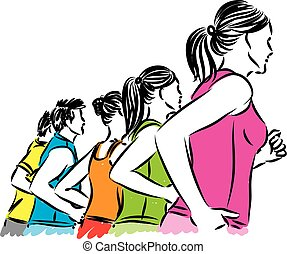 fitness group of people vector illustration.eps