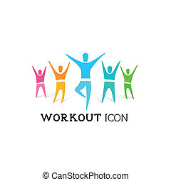 A group of healthy people. Vector icon illustration