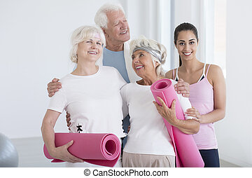 Fitness group with instructor