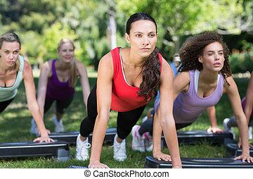 fitness, grupp, användande, steg, i park