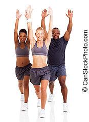 fitness, grupp, exercerande, folk