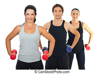 fitness, grupp, folk