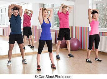 fitness, grupp, hos, den, gymnastiksal