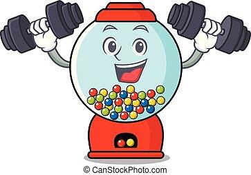 Fitness gumball machine character cartoon vector...