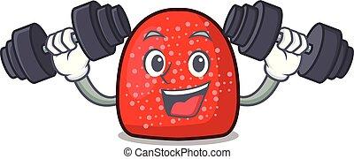 Fitness gumdrop character cartoon style vector illustration