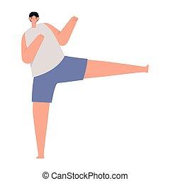 fitness guy icon doing yoga