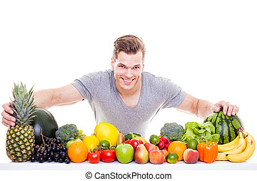 Fitness guy with healthy food