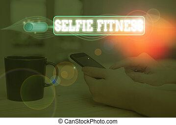 fitness., gym., 手, 照片, 作品, 正文, 显示, 拿, 概念性, 本身, selfie, 测验, ...