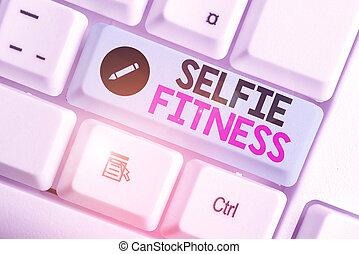 fitness., gym., 照片, 正文, 显示, 概念性, 签署, 本身, selfie, 测验, 内部, 或者...