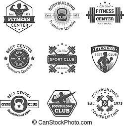 Fitness Gym Emblems Set