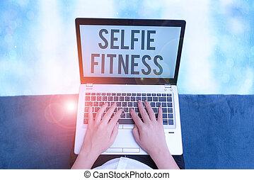 fitness., gym., showcasing, 手, 照片, 作品, 显示, 拿, 概念性, 本身, ...