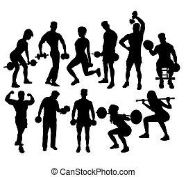 fitness, gym, sportende, activiteit, silhouettes