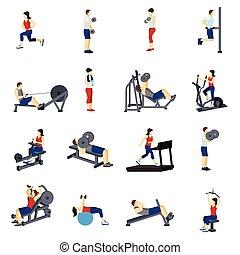 Fitness Gym Training Icons Set