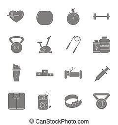 fitness, gymnase, ensemble, silhouettes, icônes