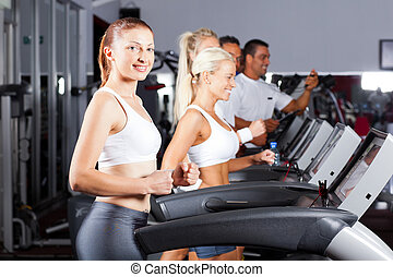 fitness, gymnase, tapis roulant, courant, gens