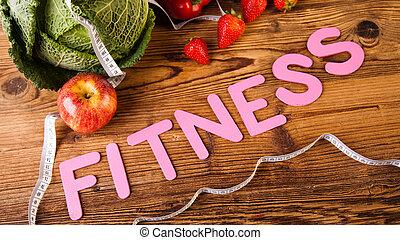 fitness, haltère, vitamine, régime