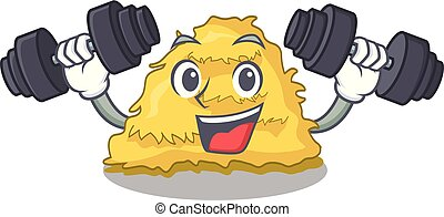 Fitness hay bale character cartoon vector illustration