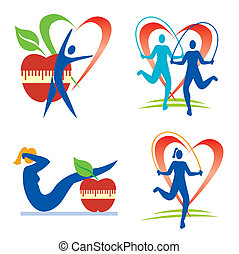 Fitness health icons - Icons with fitness and healthy...