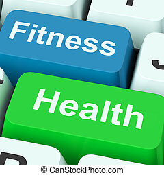 Fitness Health Keys Shows Healthy Lifestyle