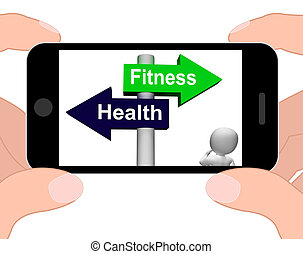 Fitness Health Signpost Displays Healthy Lifestyle