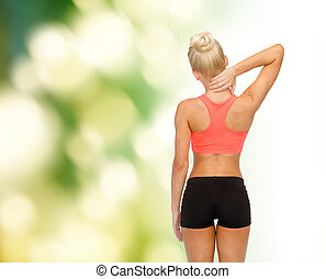 sporty woman touching her neck - fitness, healthcare and ...