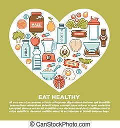 Fitness healthy food heart poster of sport diet food nutrition and dietary supplement icons. Vector protein drink, natural vegetables or fruits, low calorie weight loss pills and carbohydrate cereal