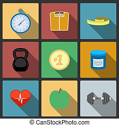 Fitness healthy lifestyle icons set