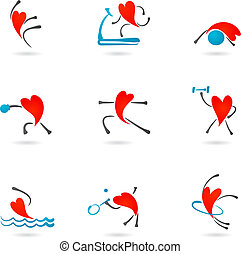 Fitness heart icons - Collection of fitness icons with heart...