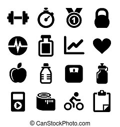 fitness, heiligenbilder, satz