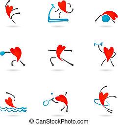 fitness, hjärta, ikonen