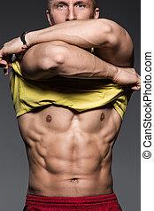 fitness., homem forte, com, bonito, excitado, corporal