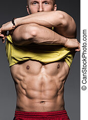 fitness., homme, sexy, fort, beau, corps