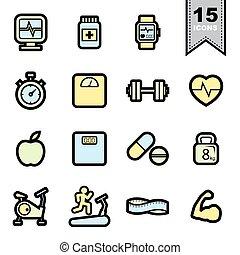 fitness, icônes, ensemble