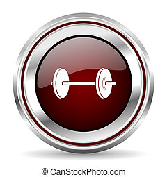 fitness icon chrome border round web button silver metallic pushbutton