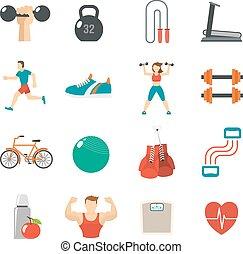 Fitness Icon Flat Set