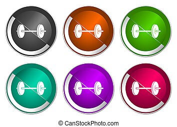 Fitness icon set, silver metallic web buttons