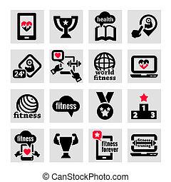 fitness, iconen, set