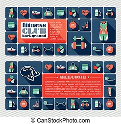 Fitness Icons background. Flat design.