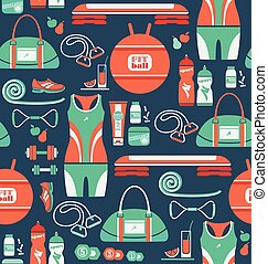 Seamless pattern with icons of fitness.