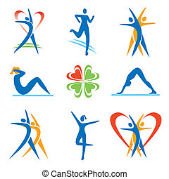 Fitness icons - Icons with fitness activities. Vector ...