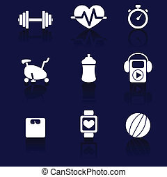 Fitness icons - Set of nine white fitness icons with shadow