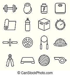Fitness icons outline vector set.