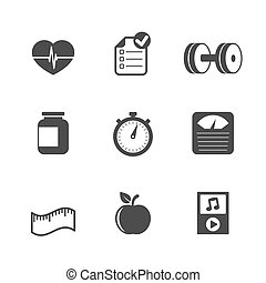Fitness icons set, contrast flat isolated vector...