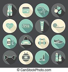 Fitness Icons set. Flat design