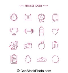 Fitness Icons Set in Outline Style