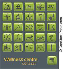 Fitness icons set - Wellness center icons set