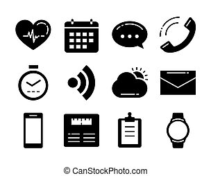 Fitness icons tracker technology data with applications smartwatch in flat design.