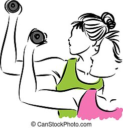 fitness, illustration, femmes