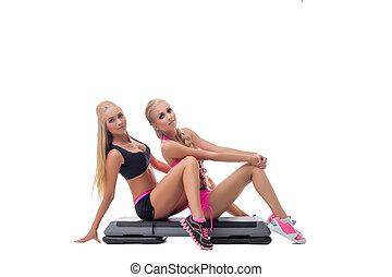 fitness., image, blonds, studio, poser, jumeaux